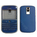Front and Back Housing With Keypad Fullset Leather Cover for Blackberry Bold 9000 - Blue