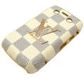LV Louis Vuitton Luxury leather Cases Hard Skin Covers for Blackberry Bold 9700 - Beige