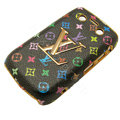 LV Louis Vuitton Luxury leather Cases Hard Skin Covers for Blackberry Bold 9700 - Black