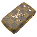 LV Louis Vuitton Luxury leather Cases Hard Skin Covers for Blackberry Bold 9700 - Brown