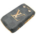 LV Louis Vuitton Luxury leather Cases Hard Skin Covers for Blackberry Bold 9700 - Gray