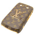LV Louis Vuitton Luxury leather Cases Skin Hard Covers for Blackberry Bold 9700 - Brown
