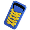 ISHOES Yellow Shoelace Silicone Cases Covers for iPhone 4G/4S - Blue