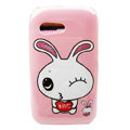 Cartoon Love Rabbit Hard Cases Covers for Samsung S5360 Galaxy Y I509 - Pink