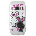 Cartoon Love Rabbit Hard Cases Skin Covers for Nokia C7 C7-00 - White
