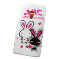 Cartoon Lovers Rabbit Hard Cases Skin Covers for Sony Ericsson X10i X10 - White
