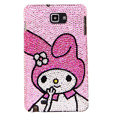 Bling Cute gril  Swarovski Crystals Cases Covers For Samsung Galaxy Note i9220 N7000 - Pink
