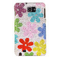 Bling Flowers Swarovski Crystals Cases Covers For Samsung Galaxy Note i9220 N7000 - Red