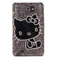 Bling Hello kitty Swarovski Crystals Cases Covers For Samsung Galaxy Note i9220 N7000 - Black