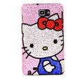 Bling Hello kitty Swarovski Crystals Cases Covers For Samsung Galaxy Note i9220 N7000 - Blue
