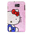 Bling Hello kitty Swarovski Crystals Covers Cases For Samsung Galaxy Note i9220 N7000 - Blue