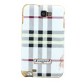Burberry Kingpad Luxury leather Cases Holster for Samsung Galaxy Note i9220 N7000 - White