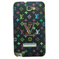 LV Louis Vuitton Luxury leather Cases Holster Skin for Samsung Galaxy Note i9220 N7000 - Black