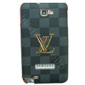LV Louis Vuitton Luxury leather Cases Holster Skin for Samsung Galaxy Note i9220 N7000 - Gray