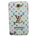 LV Louis Vuitton Luxury leather Cases Holster Skin for Samsung Galaxy Note i9220 N7000 - White