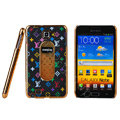 LV Louis Vuitton Luxury leather Cases Holster for Samsung Galaxy Note i9220 N7000 - Black