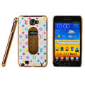 LV Louis Vuitton Luxury leather Cases Holster for Samsung Galaxy Note i9220 N7000 - White