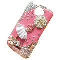 Bling Ballet girl Crystal Cases Diamond Covers for HTC One X Superme Edge S720E - Pink