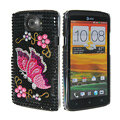 Bling Butterfly Crystal Cases Covers for HTC One X Superme Edge S720E - Black