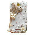 Bling Butterfly Crystals Cases Diamond Covers for HTC One X Superme Edge S720E - White