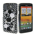 Bling Flower 3D Crystal Cases Covers for HTC One X Superme Edge S720E - Black