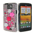 Bling Flower 3D Crystal Cases Covers for HTC One X Superme Edge S720E - Pink