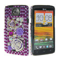 Bling Flower 3D Crystal Cases Covers for HTC One X Superme Edge S720E - Purple