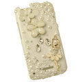 Bling Flower Ballet Crystals Cases Covers for HTC One X Superme Edge S720E - White