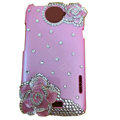 Bling Flower Crystal Cases Diamond Covers for HTC One X Superme Edge S720E - Pink