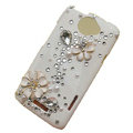 Bling Flower Crystal Cases Diamond Covers for HTC One X Superme Edge S720E - White