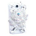 Bling Flower Crystals Cases Diamond Covers for HTC One X Superme Edge S720E - White