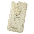 Bling Flower Crystals Cases Pearls Covers for HTC One X Superme Edge S720E - White