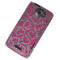 Bling Heart Crystal Cases Covers for HTC One X Superme Edge S720E - Pink