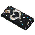 Bling Heart Crystals Cases Diamond Covers for HTC One X Superme Edge S720E - Black