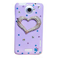 Bling Heart Crystals Cases Diamond Covers for HTC One X Superme Edge S720E - Purple