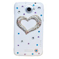 Bling Heart Crystals Cases Diamond Covers for HTC One X Superme Edge S720E - White