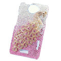 Bling Peacock Crystal Cases Covers for HTC One X Superme Edge S720E - Pink