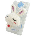 Bling Rabbit Crystal Cases Pearl Covers for HTC One X Superme Edge S720E - White