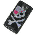 Bling Skull Crystal Cases Covers for HTC One X Superme Edge S720E - Black