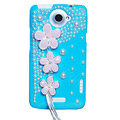 Flowers Bling Crystals Cases Pearls Covers for HTC One X Superme Edge S720E - Blue