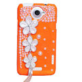 Flowers Bling Crystals Cases Pearls Covers for HTC One X Superme Edge S720E - Orange