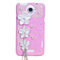 Flowers Bling Crystals Cases Pearls Covers for HTC One X Superme Edge S720E - Pink