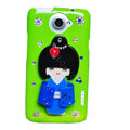 Kimono doll Bling Crystals Cases Diamond Covers for HTC One X Superme Edge S720E - Green