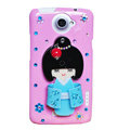Kimono doll Bling Crystals Cases Diamond Covers for HTC One X Superme Edge S720E - Pink