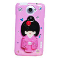 Kimono doll Bling Crystals Cases Diamond Covers for HTC One X Superme Edge S720E - Rose