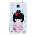 Kimono doll Bling Crystals Cases Diamond Covers for HTC One X Superme Edge S720E - White