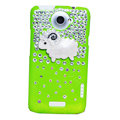 Lamb Bling Crystals Cases Diamond Covers for HTC One X Superme Edge S720E - Green