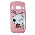 Cartoon Love Rabbit Hard Cases Skin Covers for Nokia C7 C7-00 - Pink