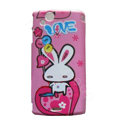 Love rabbit Scrub Hard Cases Covers for Sony Ericsson Xperia Arc LT15I X12 LT18i - Pink