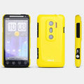 ROCK Colorful Glossy Cases Skin Covers for HTC EVO 3D G17 X515m - Yellow (High transparent screen protector)
